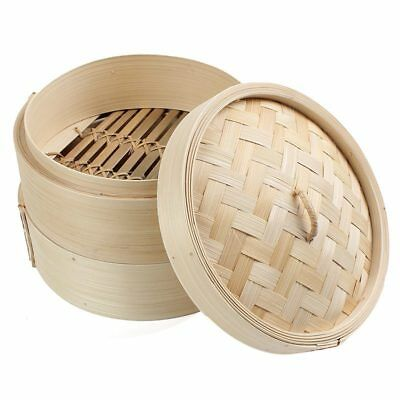 2 Tier 8 inch Bamboo Steamer Dim Sum Basket Rice Pasta Cooker Set with Lid J2T8