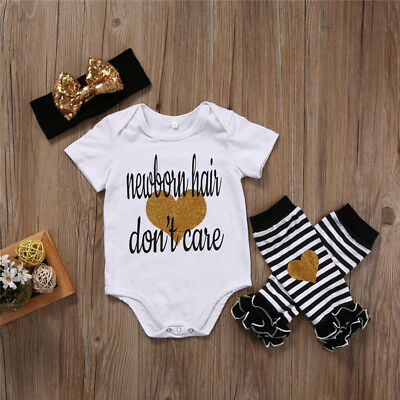 Newborn Baby Girl Clothes Romper +Striped Leg Warmers+Headband 3pcs Outfit US