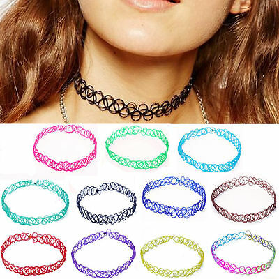 Women Vintage Retro Hippy Stretch Tattoo Choker Henna Necklace Elastic Chocker