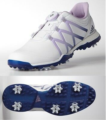 best website a7184 d628d New Womens Adidas Adipower Boost Boa Golf Shoes Q44921 White Purple Blue  Sz 10
