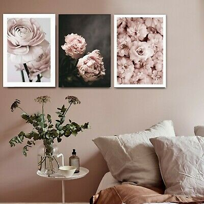 3 Piece Canvas Prints Set - Romantic Pink Roses Floral Art Home Decor - Unframed