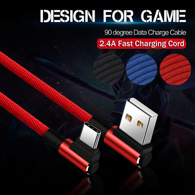1M 2M USB Type C Cable 2.4A Fast Charger Cord 90° Elbow Braided Data USB Cable