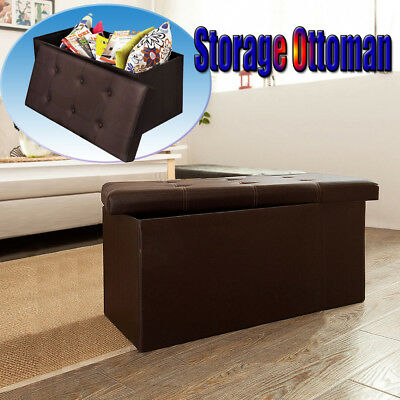 Collapsible Faux Leather Folding Storage Ottoman Bench Foot Rest Stool Seat USA