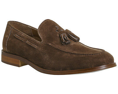 Mens Office Esteem Tassel Loafers Chocolate Suede Formal Shoes
