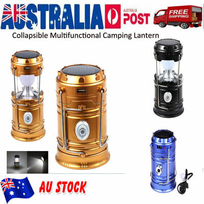 Outdoor LED Camping Lantern Solar Rechargeable Hiking Fishing Emergency Lamp