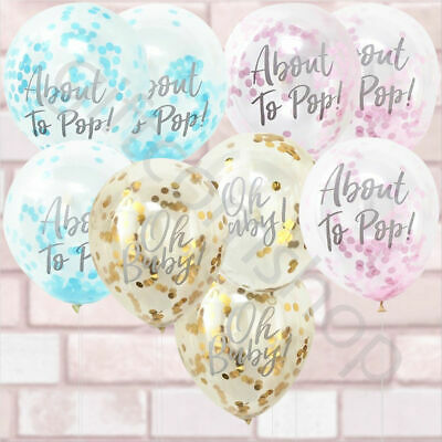 Oh Baby Shower Confetti Balloons Pack of 5 Pink Blue Gold Decorations Party