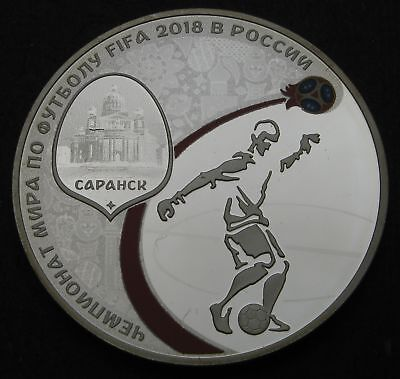 RUSSIA 3 Roubles 2018 Proof - Silver - FIFA World Cup - 1695