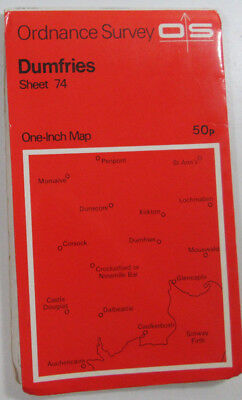 1965 old vintage OS Ordnance Survey seventh series one-inch Map 74 Dumfries