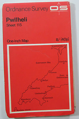1965 old vintage OS Ordnance Survey Seventh Series one-inch map 115 Pwllheli