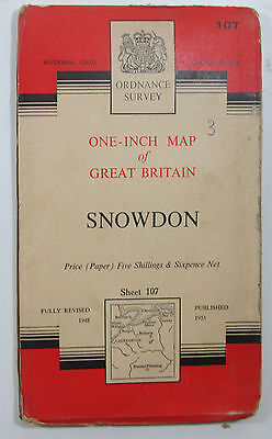 1959 old vintage OS Ordnance Survey one-inch seventh Series Map 107 Snowdon