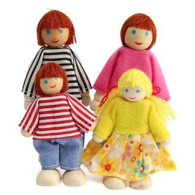 Cute Wooden House Family People Dolls Set Kids Children Pretend Play Toy Gift XW