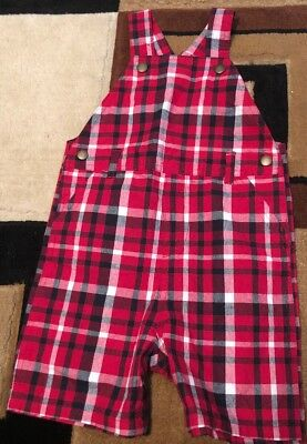 New Gymboree Baby Boy Size 18-24 Mos Red Plaid Overalls Shorts With Buttons