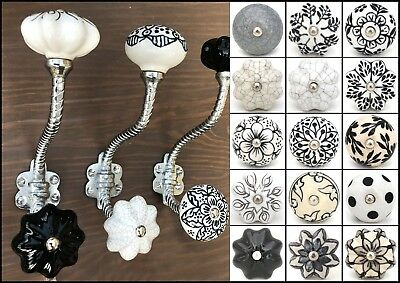 Vintage silver rope effect iron coat hooks with ceramic knobs