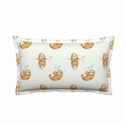 Baby Sloth Sloths Rainforest Cream Flanged Lumbar Pillow Cover by Roostery