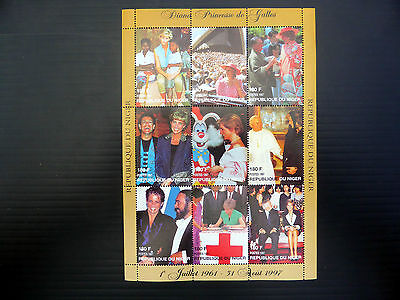 NIGER Wholesale 1997 Diana Sheetlet of 9 with Celebrities x 10 SALE PRICE FP1083