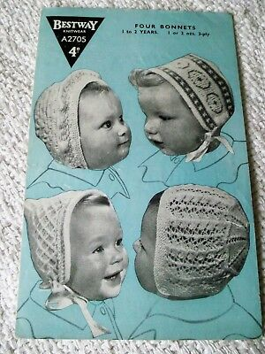 ORIGINAL, VINTAGE, 1940's  BESTWAY KNITTING PATTERN, No.A2705,  4 BABY'S BONNETS