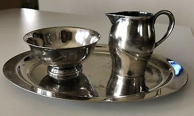 Reed & Barton 12 Paul Revere Miniature creamer, sugar bowl, tray set Silverplate