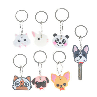 Puppy Pug Cat Rabbit Key Cover Cap Keychain Key Ring PVC Key Case Unisex vn