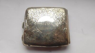 Solid Silver Cigarette Case, Birmingham, W.H.H, Year 1920, Weight 91 g.