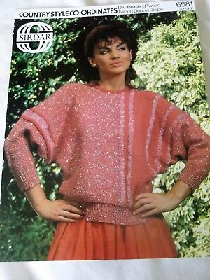 SIRDAR KNITTING PATTERN  No. 6581 SWEATER, COUNTRY STYLE CO-ORDINATES