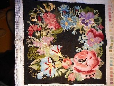 Partiall Completed Elizabeth Bradley Tapestry - Victorian Flower No2 Summer