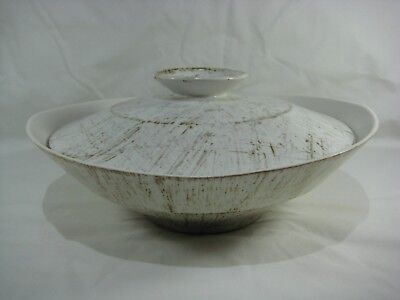 """Vintage 11"""" Beige & Brown Stripes Pottery Mixing Serving Bowl with Lid Used"""