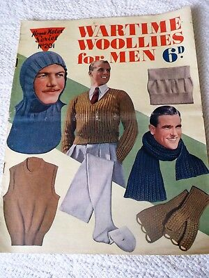 """VINTAGE 1920's? """"WARTIME WOOLLIES for MEN"""", knitting """"HOME NOTES SERIES No. 201"""