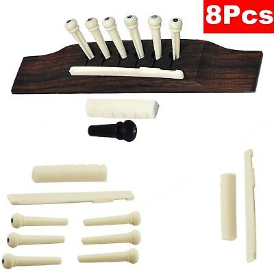 Guitar String Acoustic Parts Bone Bridge Pins with Saddle and Nut