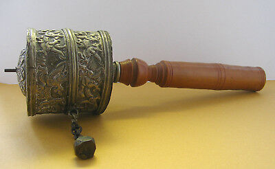 Vintage Buddhist Tibetan Silver Repousse Dragon Prayer Wheel