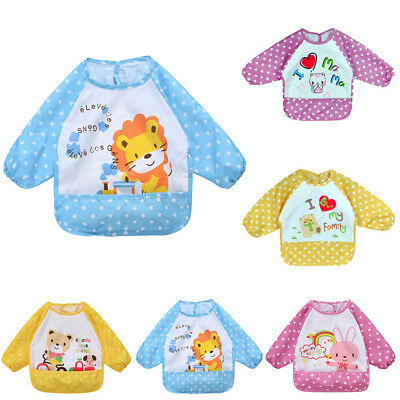 Infant Baby Boy Girl Long Sleeve Letter Waterproof Feeding Art Apron Bib Smock L