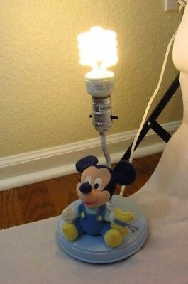 Vtg Disney Baby Mickey Mouse Holding a Butterfly Plush Lamp 1980's. 11''x 6''.