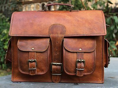 2 Side  Brown Leather Motorcycle Side Pouch 2 Bags Saddlebags Saddle Panniers