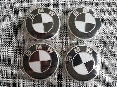 BMW alloy wheel hub centre caps badges set black 68mm