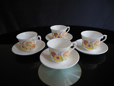 """Wedgwood English Bone China Porcelain """"Summer Bouquet"""" 4 x Cups and Saucers"""