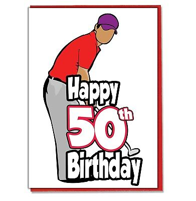Golf Golfer 50th Birthday Card