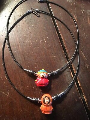 """South Park Jewelry Character Choker Necklaces Lot Of 2 """"Cartman"""" & """"Kenny"""""""