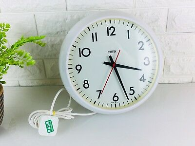 Vintage Smiths Bakelite White Factory Office Wall Clock, Electric, Industrial