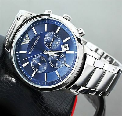 Armani Genuine Blue Ar2448 Stainless Steel Mens Dial New Emporio Uk Watch