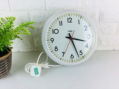 Vintage Smiths Astral White Factory Office Wall Clock, Electric, Industrial