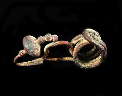 Well Preserved Complete Iron Age Celtic Iron La Tene II Type Fibula / Brooch