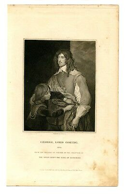GEORGE, LORD GORING, English Civil War/Royalist Soldier, Engraving 1827
