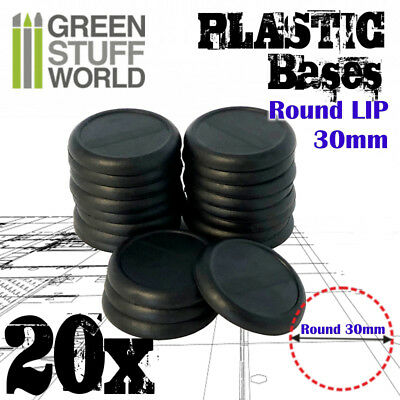 20x Plastic Round Bases with Lip 30mm - Basing Wargames Miniatures Warhammer 40K