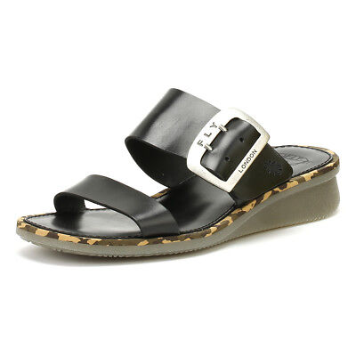 67a55c4bee8c Fly London Womens Sandals Black Cape205fly Bridle Wedge Summer Leather Shoes