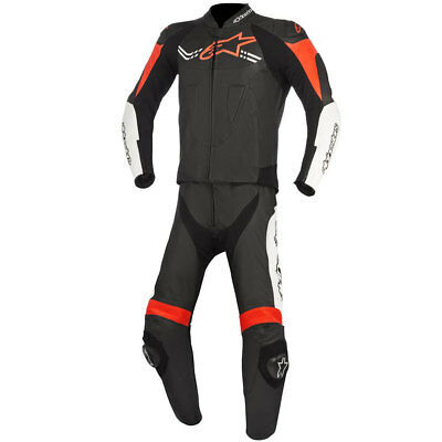 Alpinestars Challenger V2 Two Piece Leather Suit Black / White / Fluo Red
