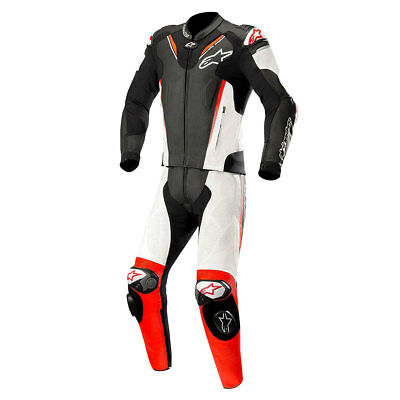 Alpinestars Atem V3 Two Piece Leather Suit Black / White / Fluo Red