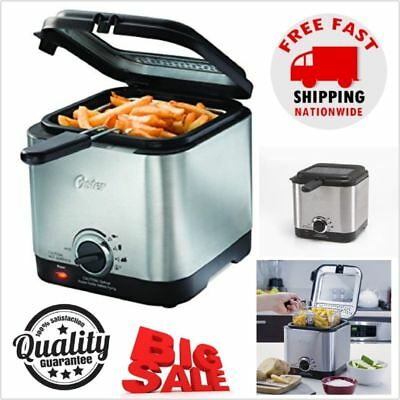 Home Electric Deep Fryer Stainless Steel Countertop French Fries Cooker Less Fat