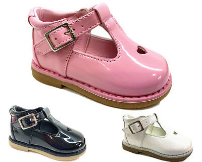 New Kids Infants Baby Girls Heart Diamante Wedding Party Patent Toddler Shoes