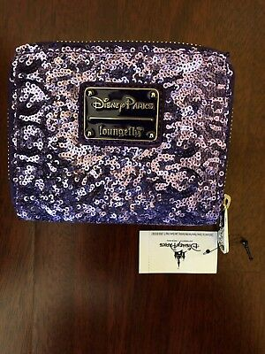 Disney World Minnie Mouse Loungefly ZIP Wallet Purple Potion Sequin New With Tag
