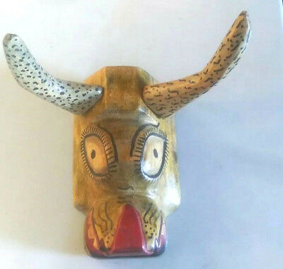 1 Of A Kind Painted Bull Mask = Hand Carved=Folk Art