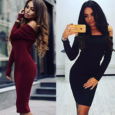 Womens Bodycon Off Shoulder Knitted Long Sleeve Evening Party Cocktai  Dress CHK